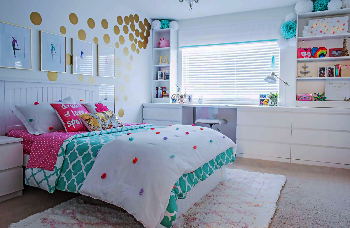 Girl Scout Bedroom in turquoise with white, cream, and beige hues