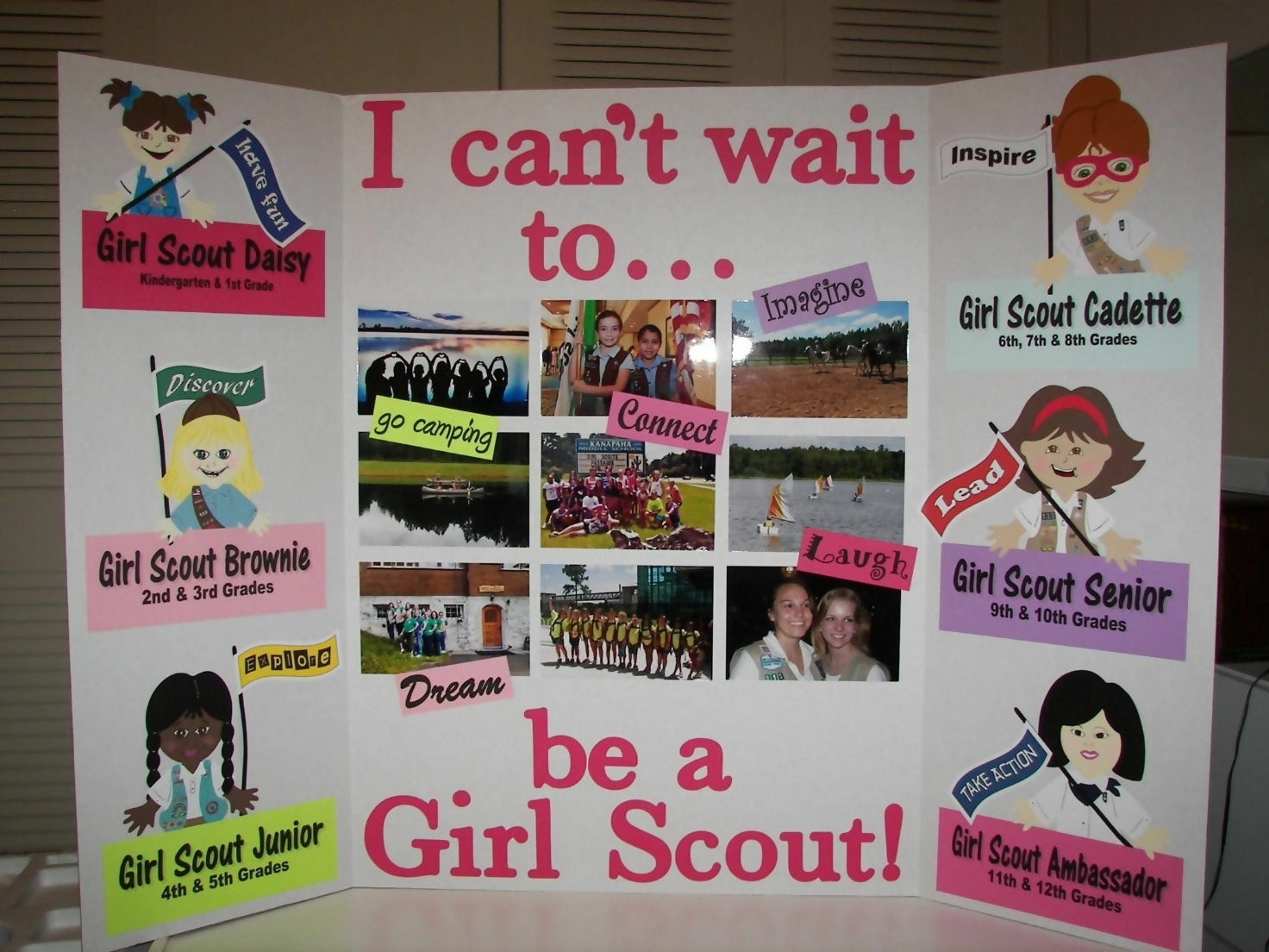 Motivational Posters in a teen Girl Scout bedroom
