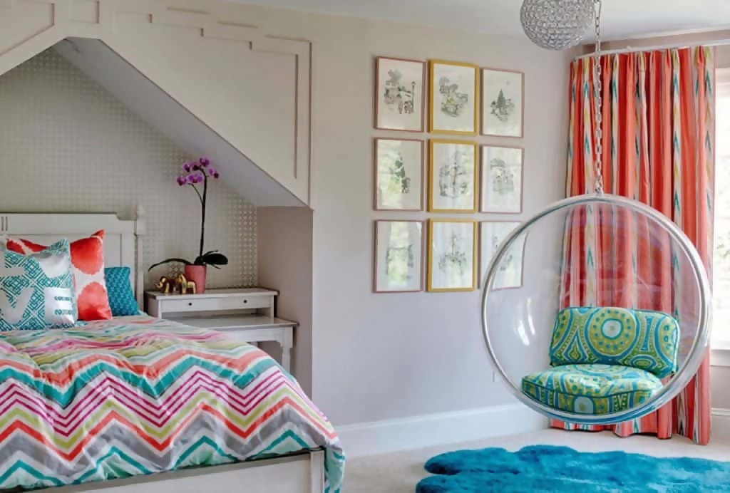 Teen Girl Scout bedroom with a hammock